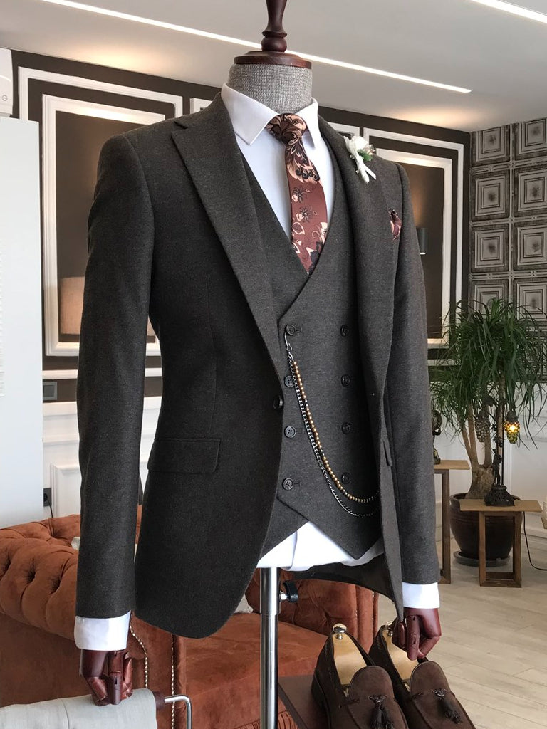 Ricco Brown Woolen Slim-Fit Suit