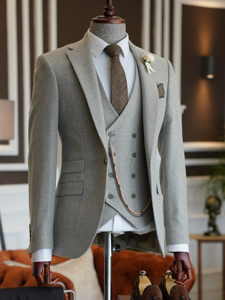 Ricco Grey Woolen Slim-Fit Suit