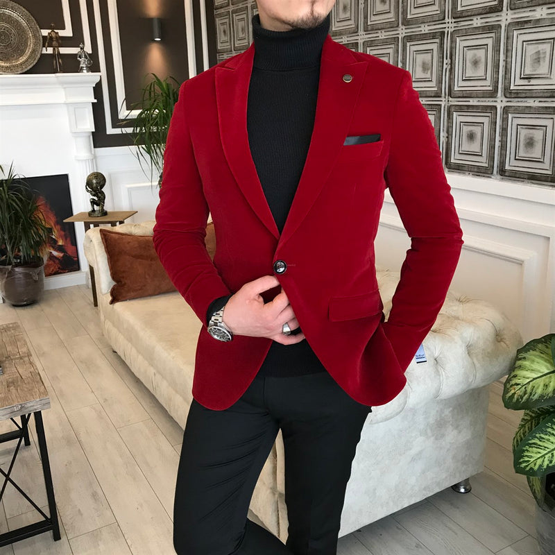 Stefano Suede Red Slim-Fit Blazer