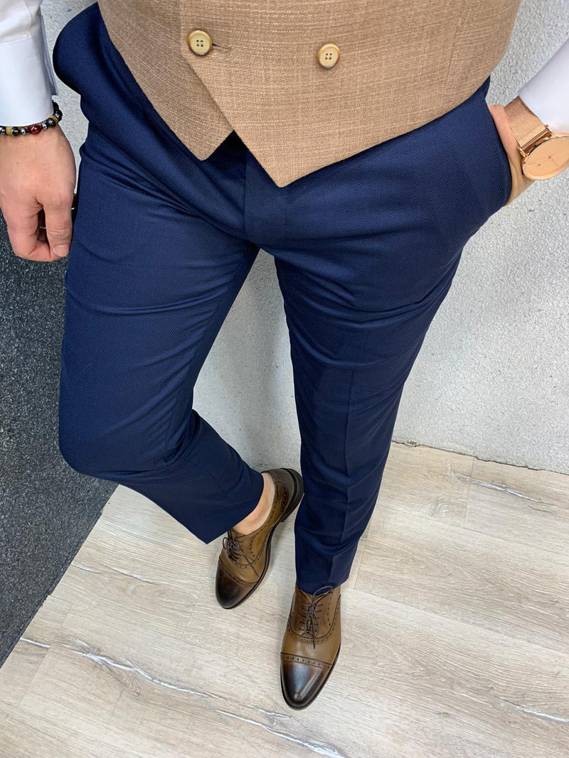 Este Brown Plaid Slim-Fit Suit