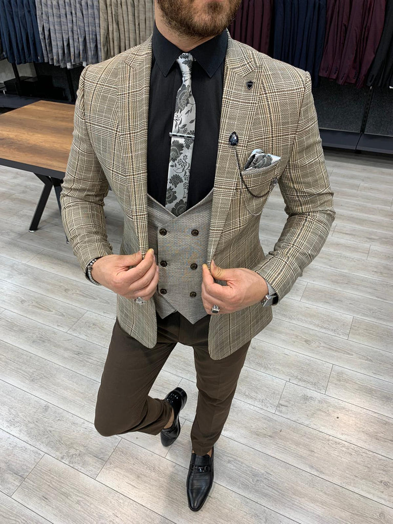 George Coffee Plaid Slim-Fit Suit