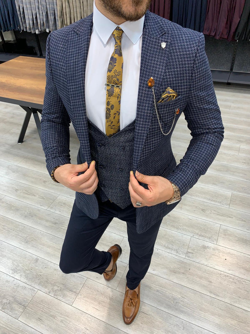 Andrew Navy Plaid Slim-Fit Suit