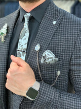 Andrew Black Plaid Slim-Fit Suit