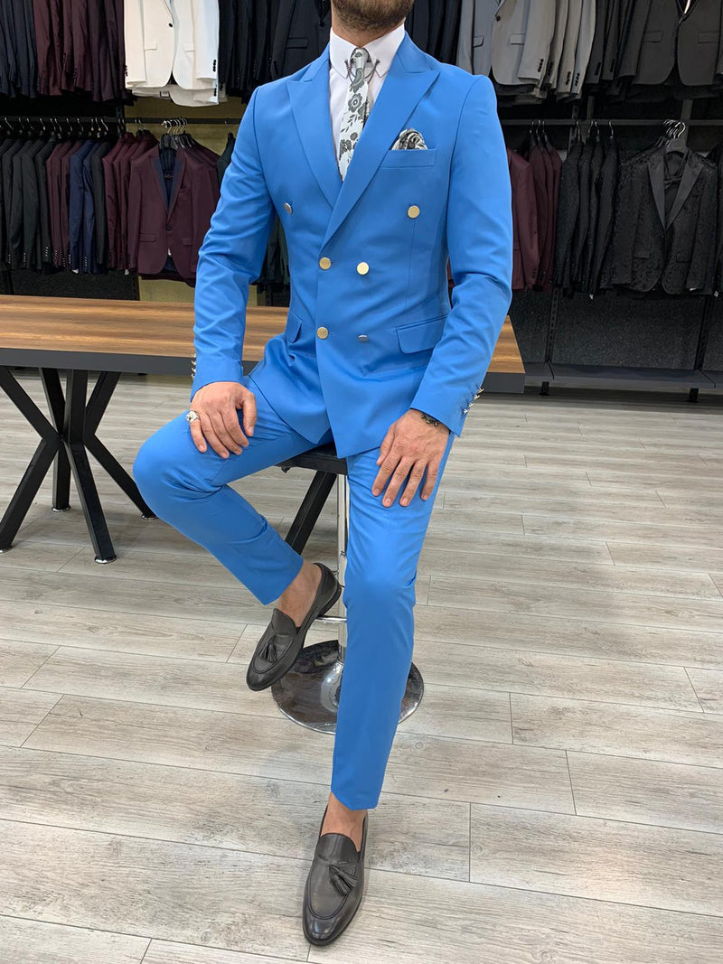Riccardo Ice Blue Double Breasted Suit