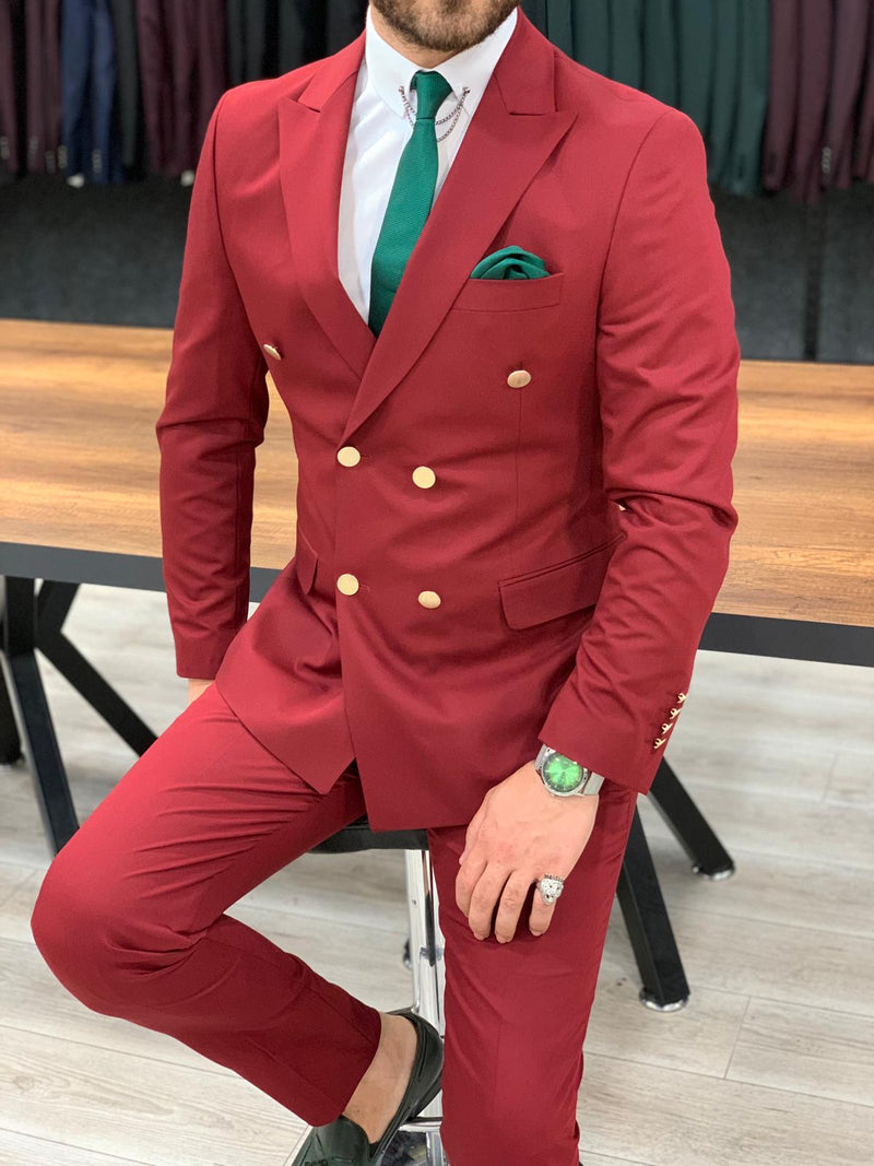 Bernardo Claret Red Double Breasted Suit