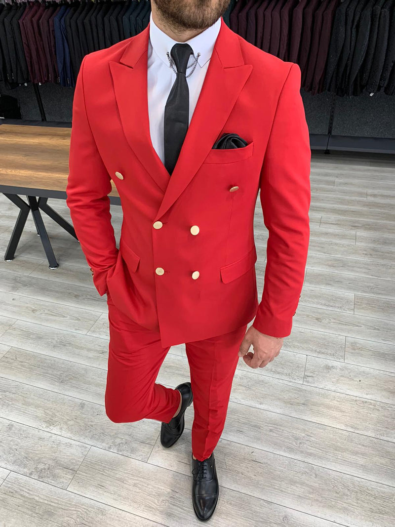 Riccardo Red Double Breasted Suit
