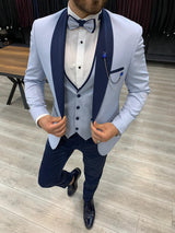 Dustin Ice Blue Slim-Fit Tuxedo