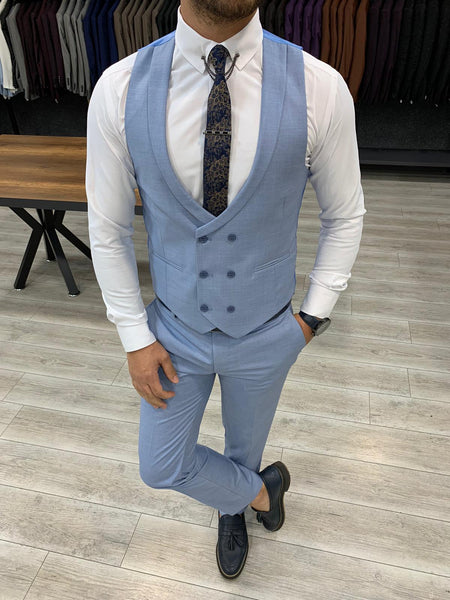 Nardo Blue Slim-Fit Suit