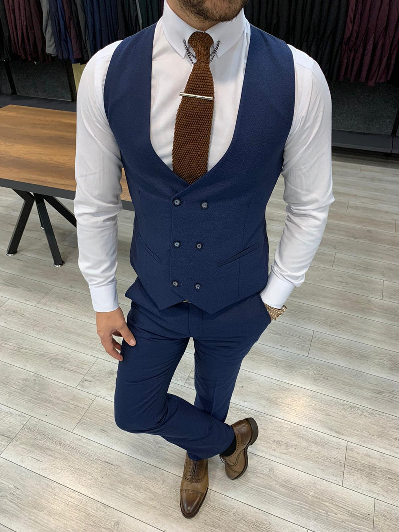 Nardo Navy Striped Slim-Fit Suit