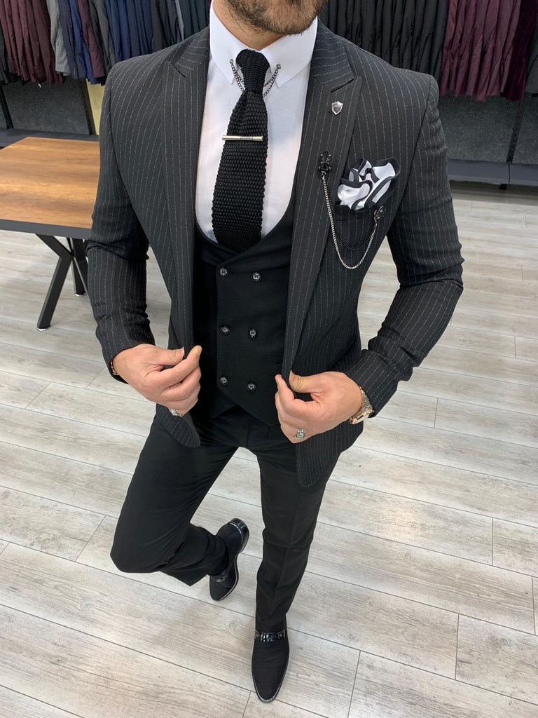 Nardo Black Striped Slim-Fit Suit