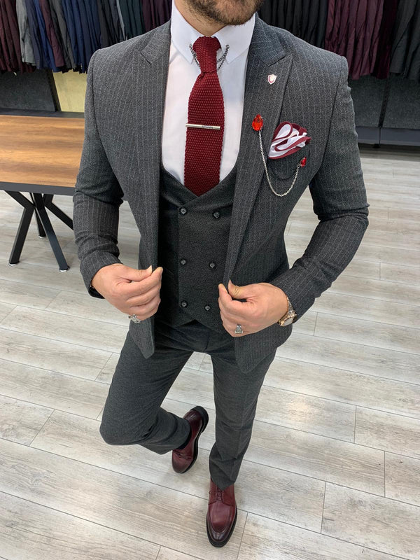 Nardo Grey Striped Slim-Fit Suit