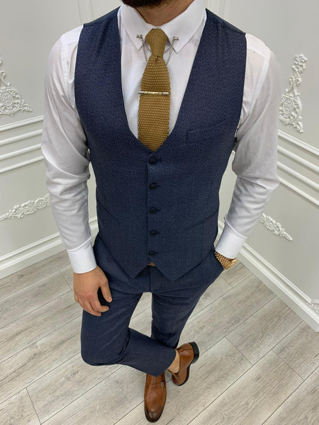 Tane Navy Plaid Slim-Fit Suit