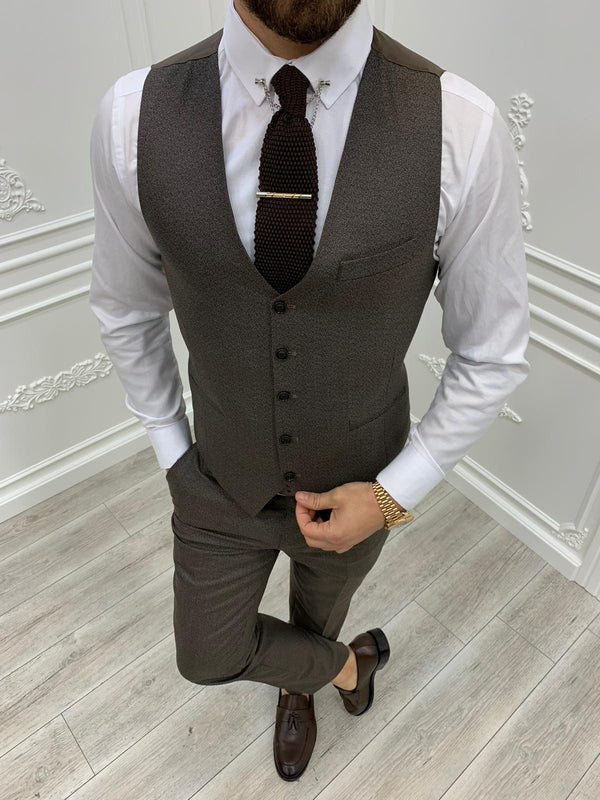 Tane Coffee Plaid Slim-Fit Suit