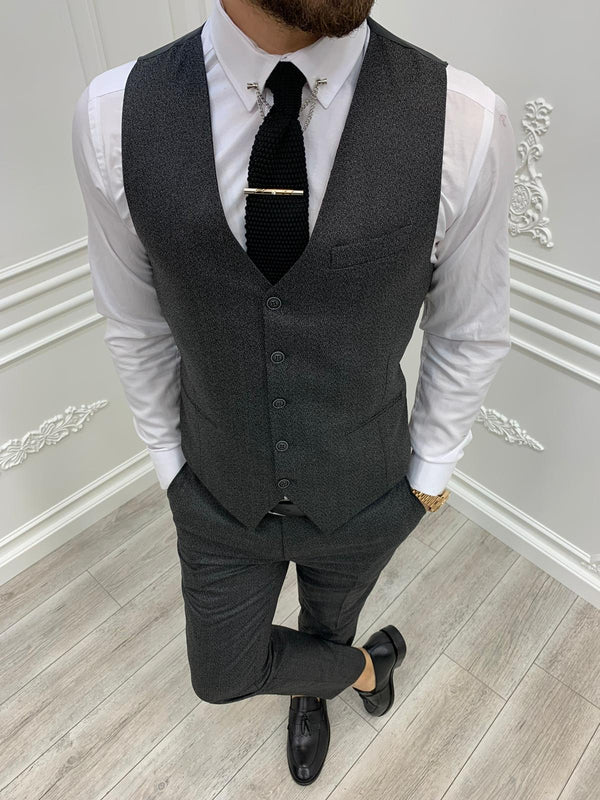 Tane Dark Grey Plaid Slim-Fit Suit