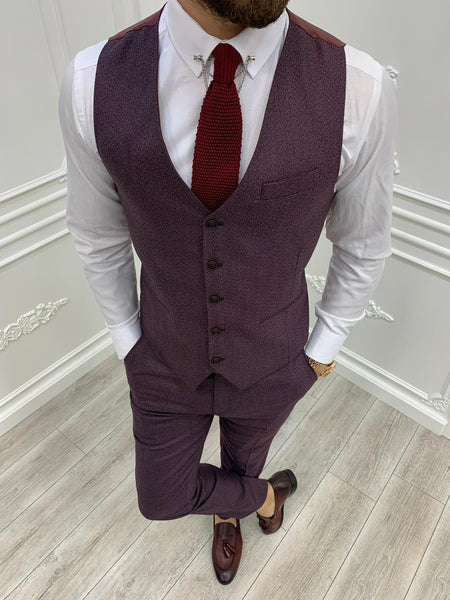 Tane Claret Red Slim-Fit Suit