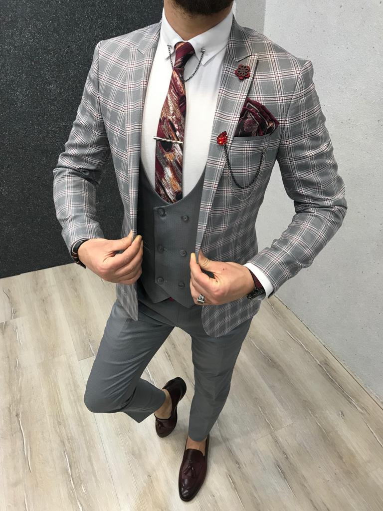 Matthew Gray Plaid Slim-Fit Suit