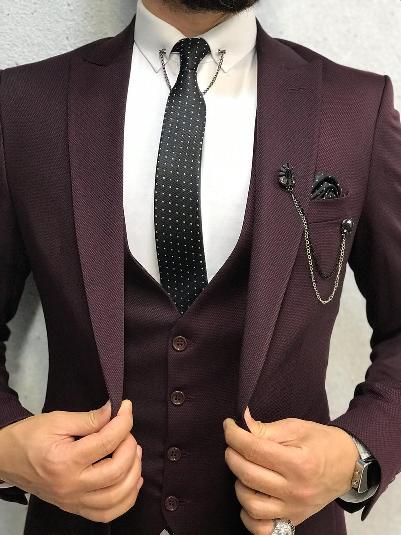 Angelo Claret Red Slim-Fit Suit
