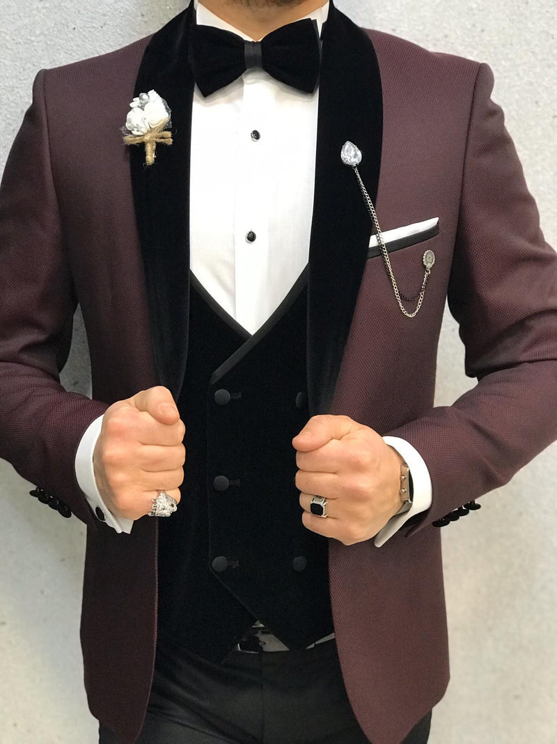 David Claret Red Slim-Fit Tuxedo