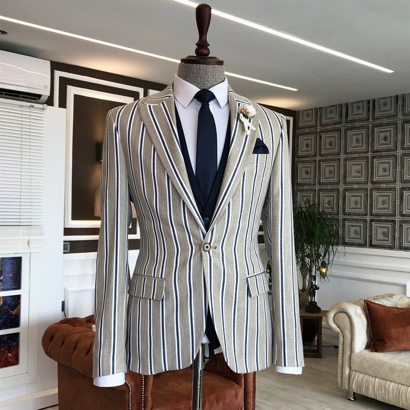 Zentro Grey Striped Slim-Fit Suit