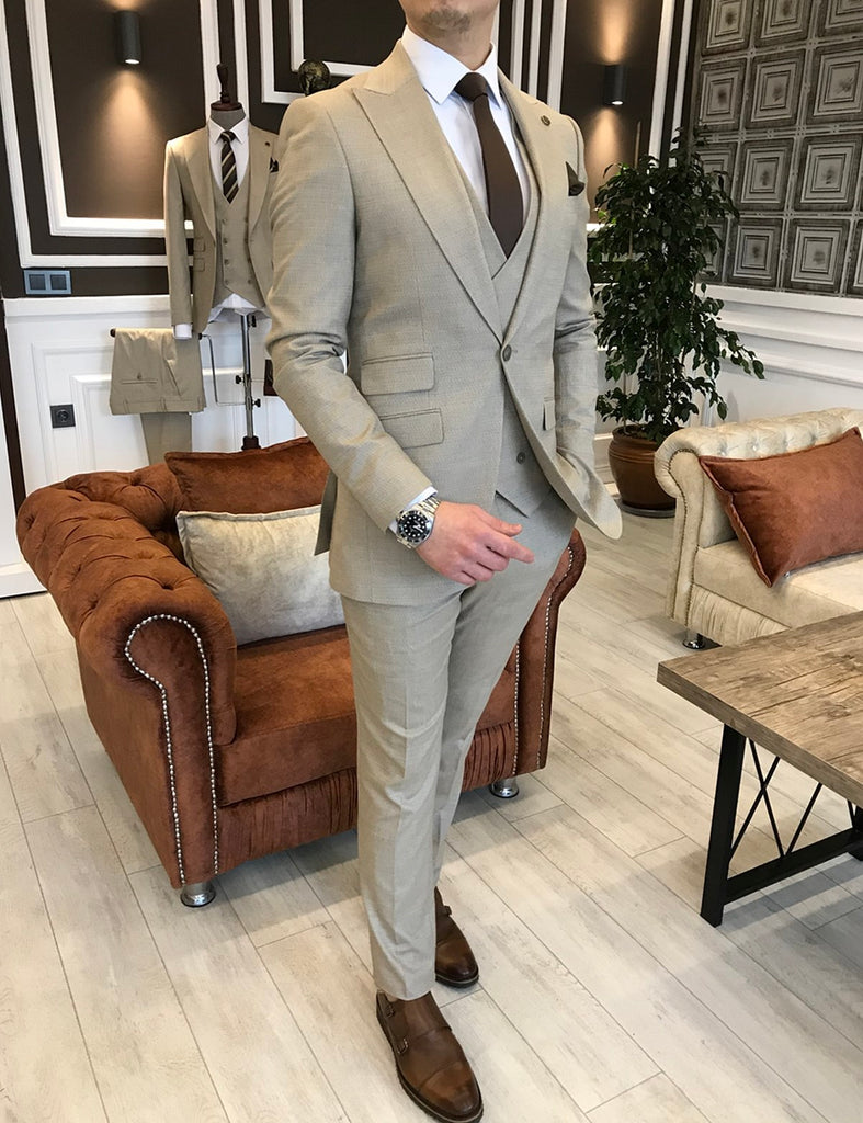Andrea Beige Slim-Fit Suit