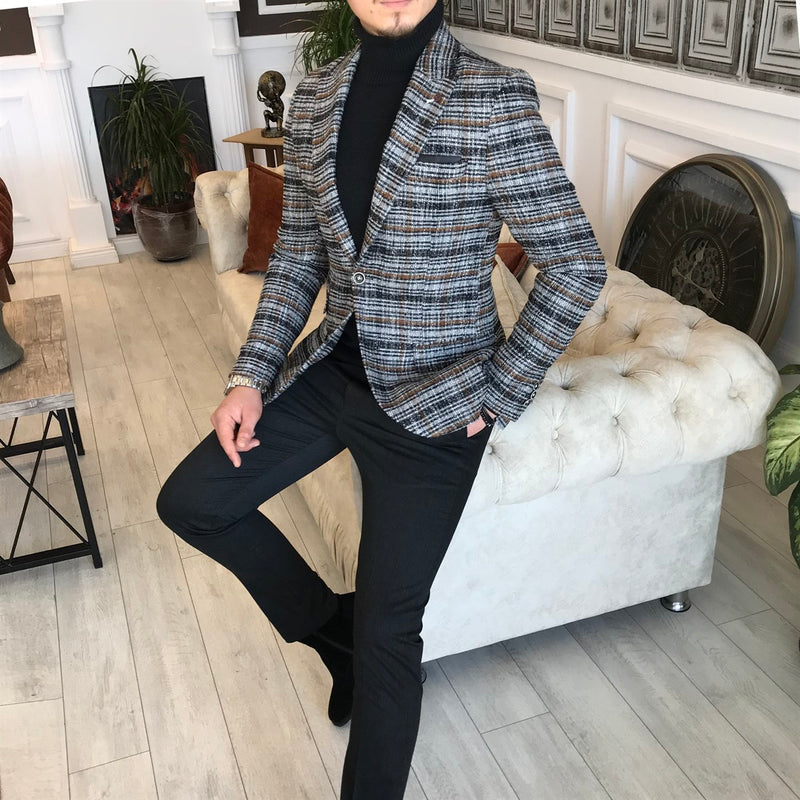 Boston Grey Plaid Slim-Fit Blazer
