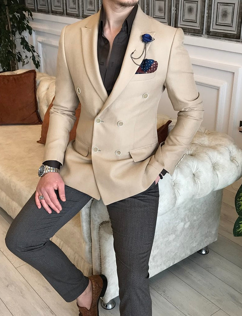 Donazi Beige Double Breasted Blazer