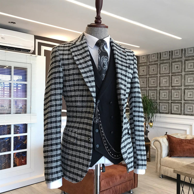 Donazi Grey Plaid Slim-Fit Blazer