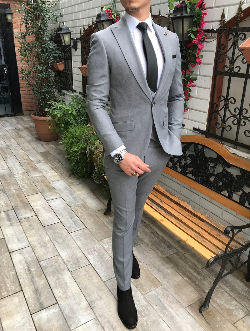 Fiolli Grey Slim-Fit Suit