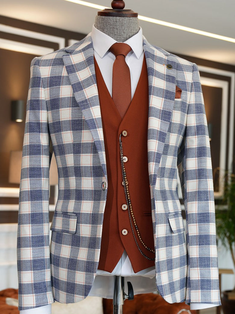 Giotelli Blue Plaid Slim-Fit Suit