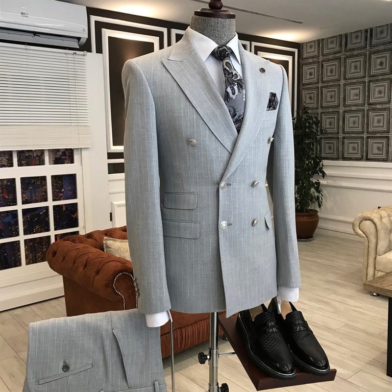 Angelo Grey Striped Double Breasted Suit