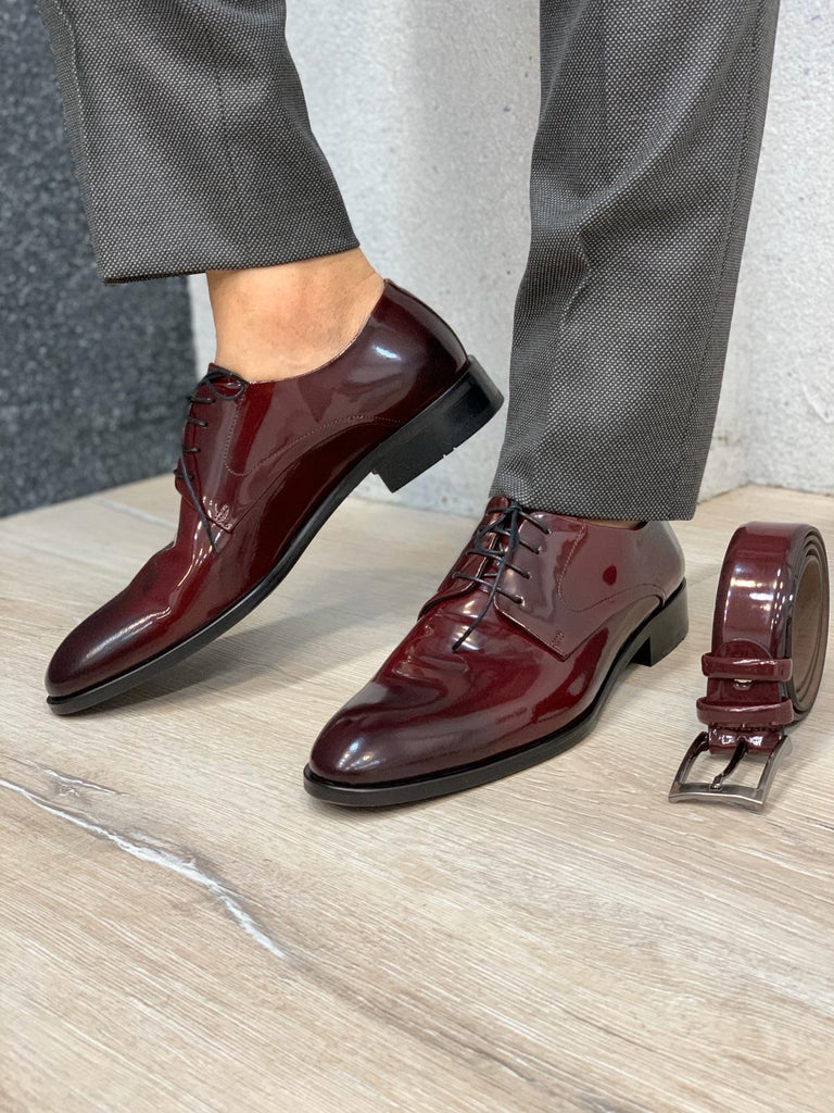 Donazi Bordeaux Leather Classic Shoes