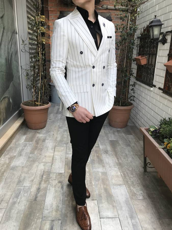 Richard White Striped Double Breasted Blazer