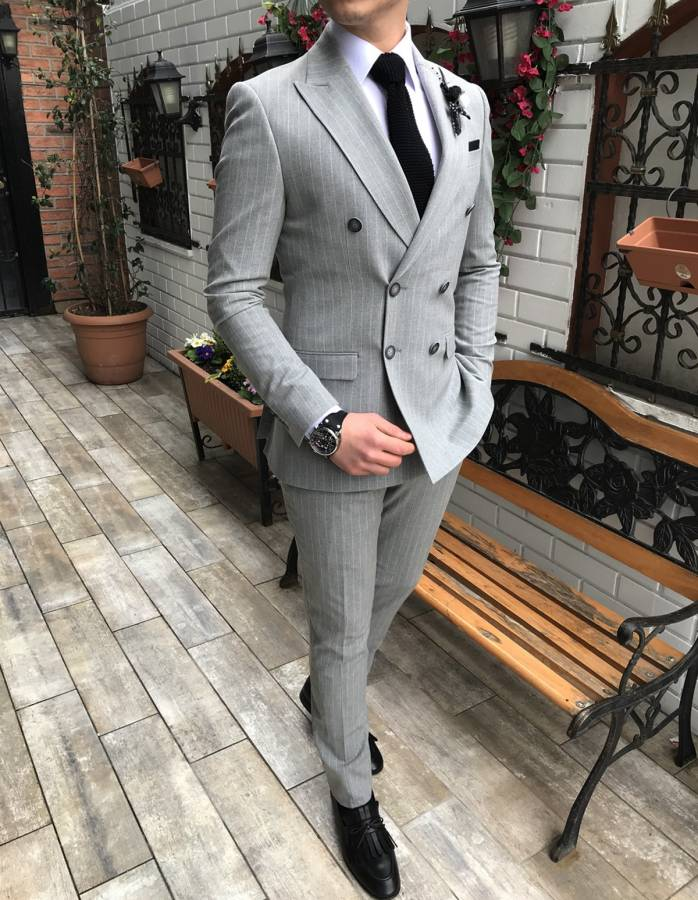 Louis Gray Striped Double Breasted Suit