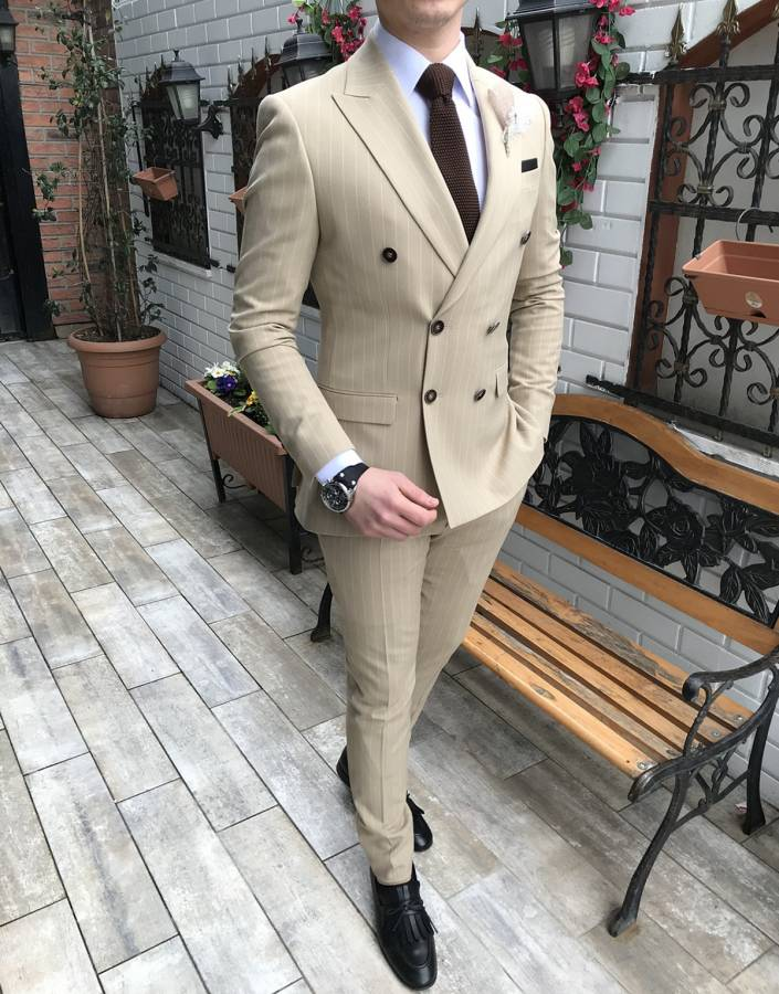 Louis Beige Striped Double Breasted Suit