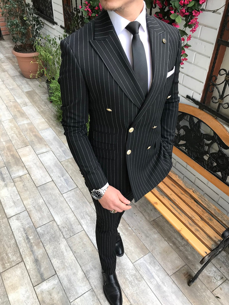 Domenico Black Striped Double Breasted Suit