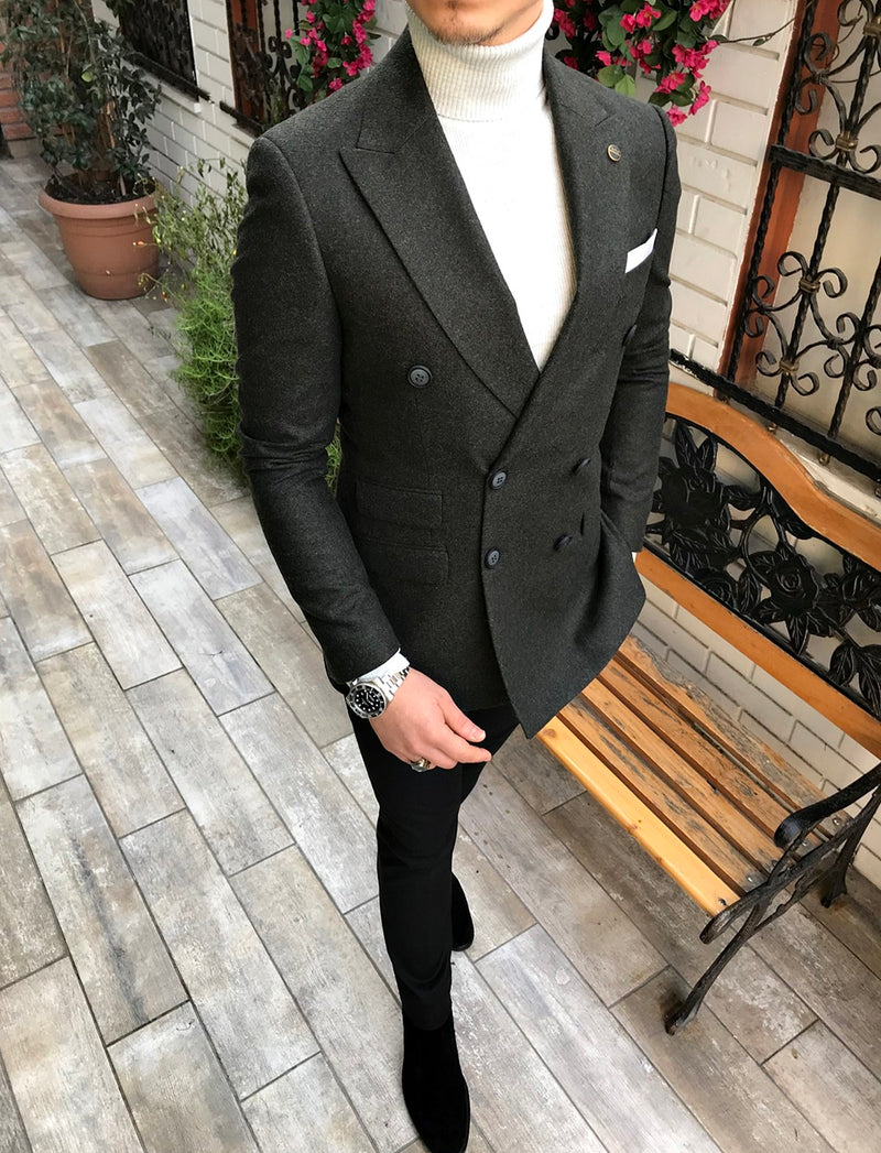 Remo Woolen Dark Green Double Breasted Blazer