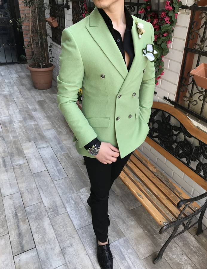 Donazi Light Green Double Breasted Blazer