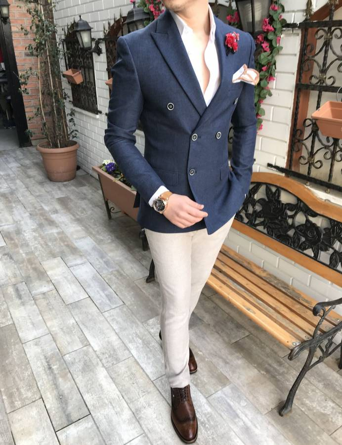 Austin Navy Double Breasted Blazer