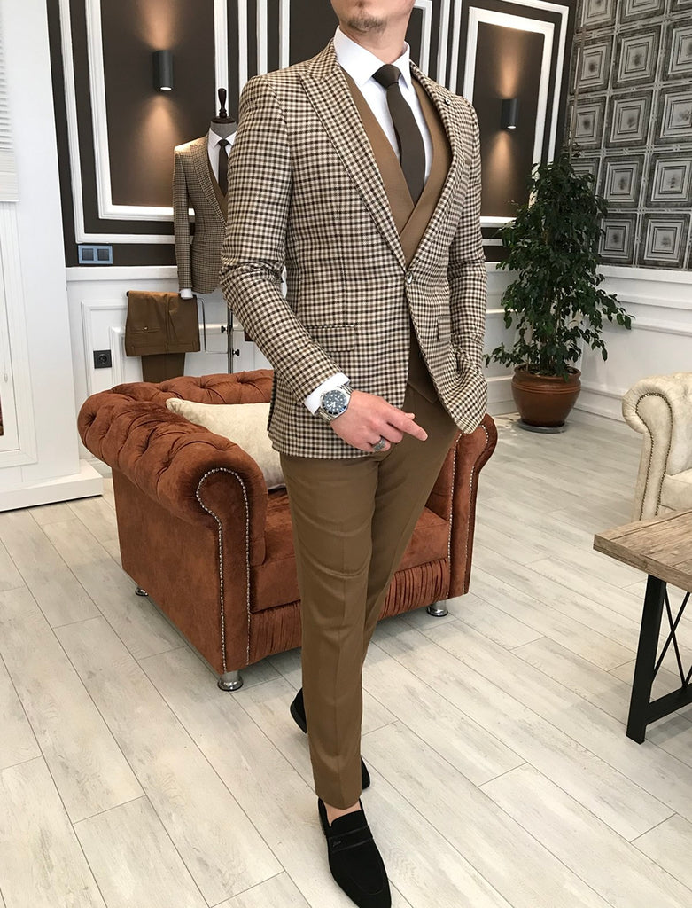 Marco Brown Plaid Slim-Fit Suit