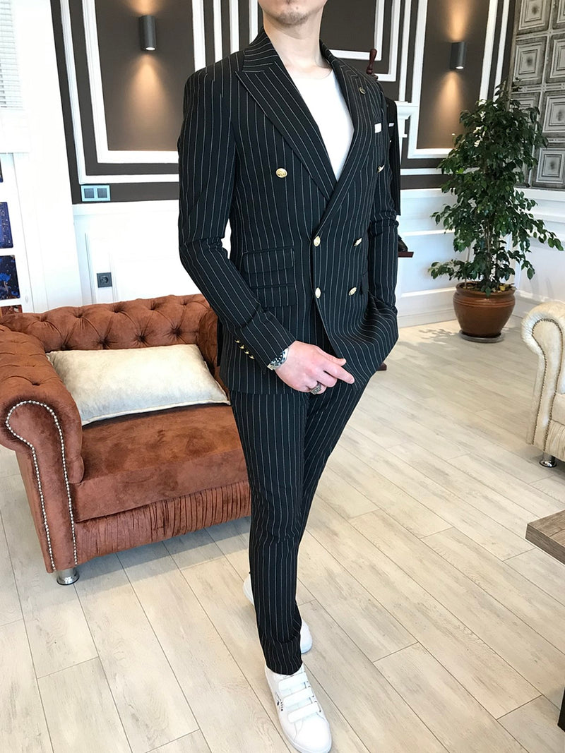Marco Black Striped Double Breasted Suit
