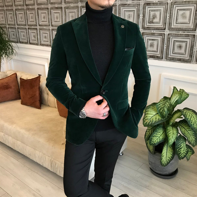 Marco Suede Green Slim-Fit Blazer