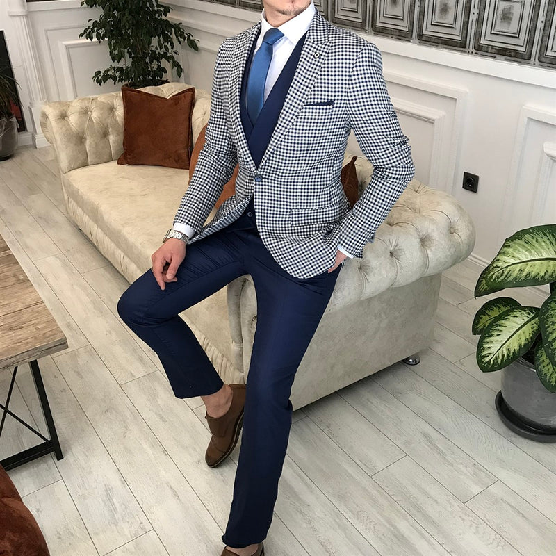 Marco Navy Plaid Slim-Fit Suit