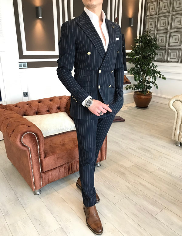 Marco Navy Striped Double Breasted Suit