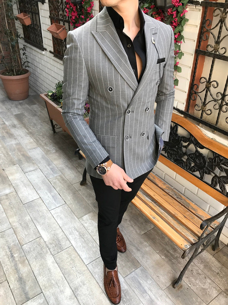 Martino Grey Double Breasted Blazer