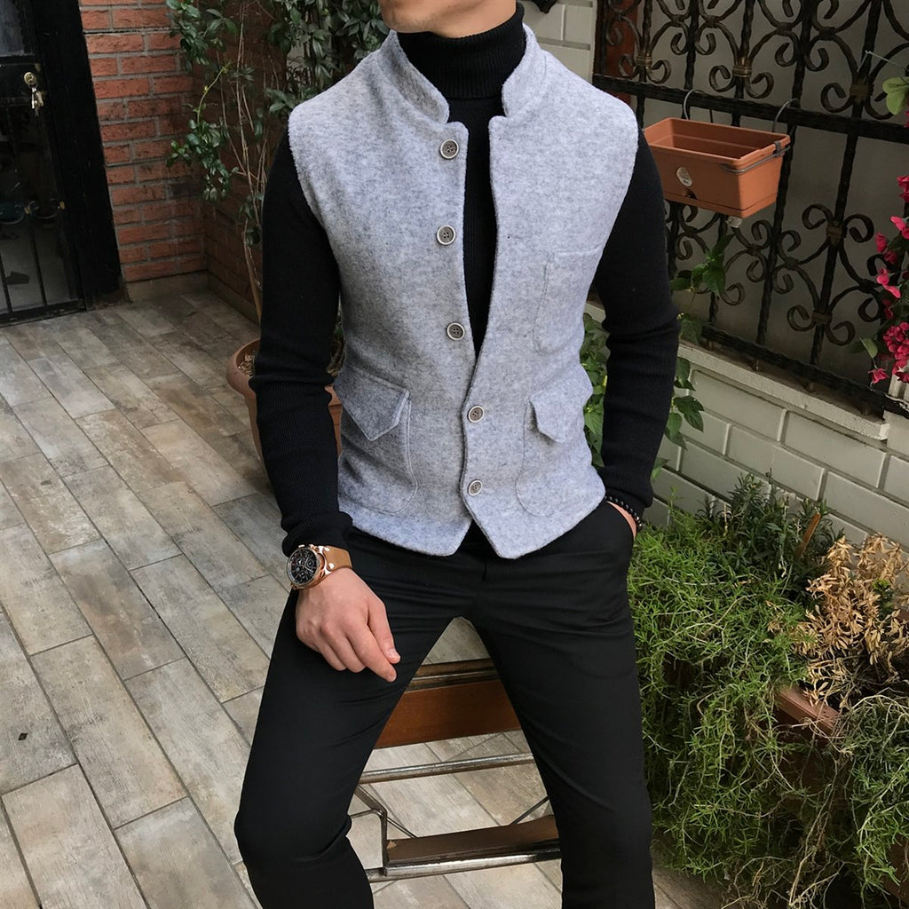 Gios Grey Slim-Fit Vest