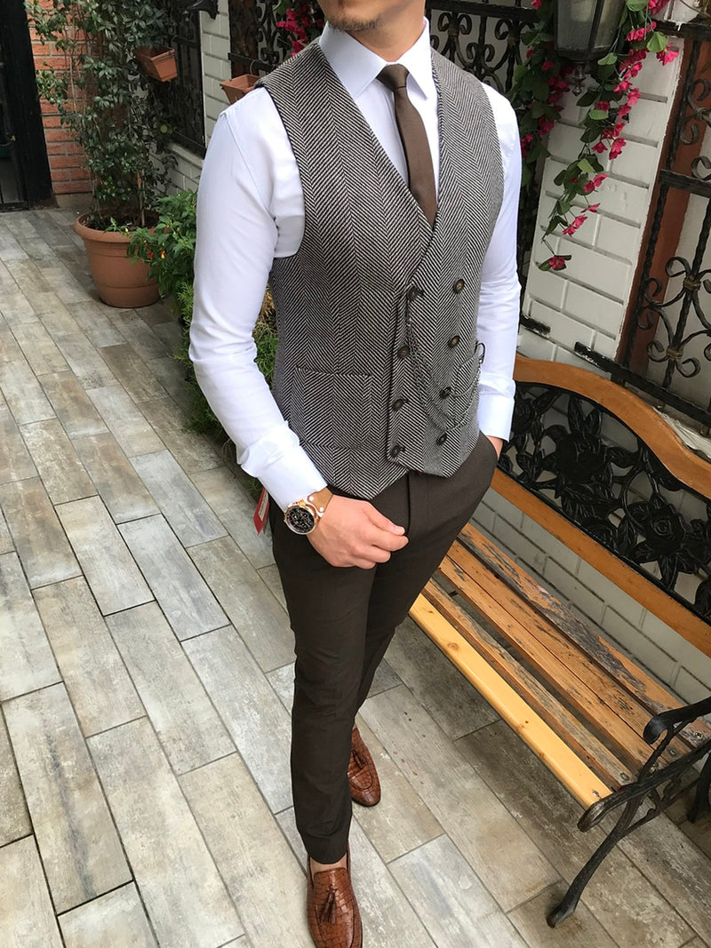 Donazi Grey-Coffee Slim-Fit Vest