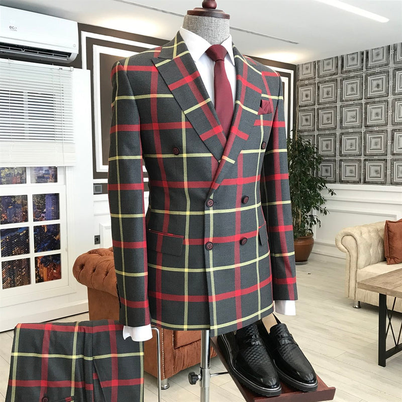 Paulo Black-Red Plaid Double Breasted Suit