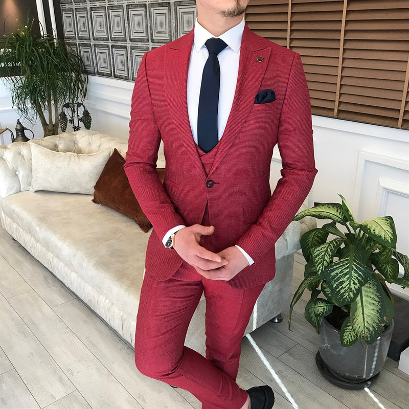Red Slim-Fit Suit 3-Piece
