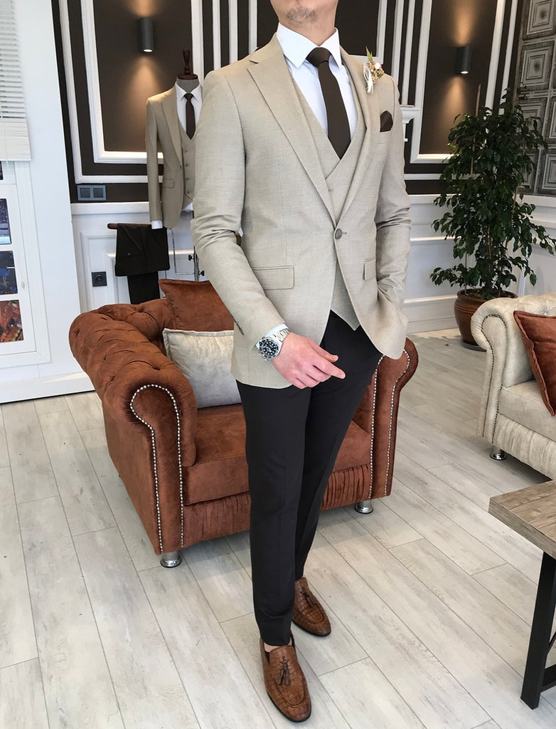 Sergio Beige Slim-Fit Suit