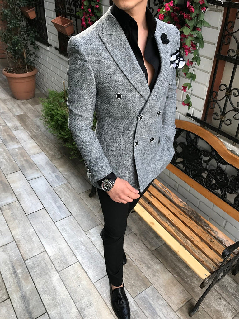 Ventura Grey Double Breasted Blazer